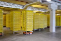 Roboty transportują całe półki z towarami    /fot.: mab /