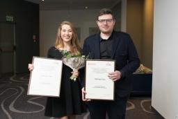 Katarzyna Palejko (MK Clinique), Paweł Lepert (Paul Vadim Eyewear) - laureaci wyróżnienia Inspirujący Start  /fot.: SG /