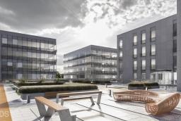 Przestrzeń między budynkami Szczecin Business Plaza będzie mogła być wykorzystana do organizacji eventów  /fot.: mat. inwestora /