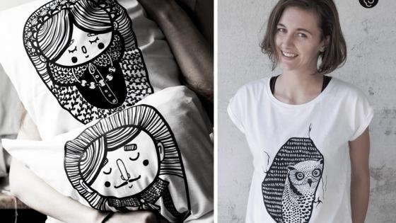 Agata Malinowska autorskie grafiki nanosi na poszewki na poduszki czy koszulki /fot.: Malinowe Cacko /