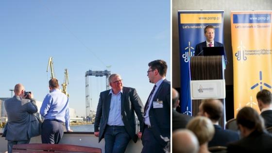 """Kończący PONP rejs statkiem """"Joanna"""" po Odrze był świetną okazją do zobaczenia siedziby ST3 Offshore położonej przy Moście Brdowskim. Z prawej strony: Norman Skillen, ekspert w dziedzinie rozwoju biznesu i konsultingu, dyrektor zarządzający w ST3 Offshore UK Ltd. mówił podczas konferencji o łańcuchach dostaw w branży morskich elektrowni wiatrowych."""