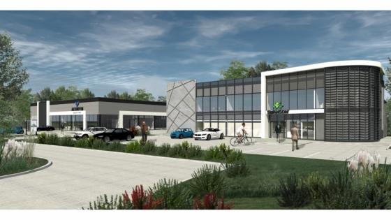 Wizualizacja budynków w przy ul. Południowej. Po prawej stronie - siedziby firmy Pro Sport /fot.: mat. Pro Sport /